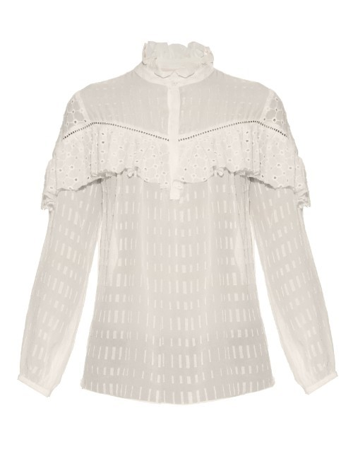 Victoriana Silk Blouse - style: blouse; predominant colour: white; length: standard; neckline: collarstand; fibres: silk - 100%; fit: straight cut; sleeve length: long sleeve; sleeve style: standard; texture group: silky - light; bust detail: tiers/frills/bulky drapes/pleats; pattern type: fabric; pattern size: light/subtle; pattern: patterned/print; occasions: creative work; season: s/s 2016; wardrobe: highlight