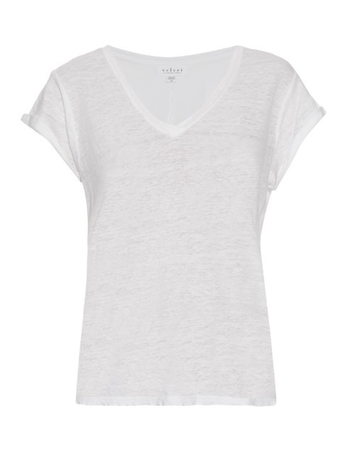Romana Linen T Shirt - neckline: v-neck; sleeve style: capped; pattern: plain; style: t-shirt; predominant colour: white; occasions: casual; length: standard; fibres: linen - 100%; fit: body skimming; sleeve length: short sleeve; texture group: linen; pattern type: fabric; season: s/s 2016; wardrobe: basic