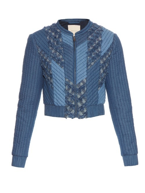 Patchwork Quilted Down Bomber Jacket - collar: high neck; fit: slim fit; style: bomber; secondary colour: pale blue; predominant colour: denim; occasions: casual; length: standard; fibres: cotton - 100%; sleeve length: long sleeve; sleeve style: standard; texture group: denim; collar break: high; pattern type: fabric; pattern size: light/subtle; pattern: patterned/print; multicoloured: multicoloured; season: s/s 2016; wardrobe: basic