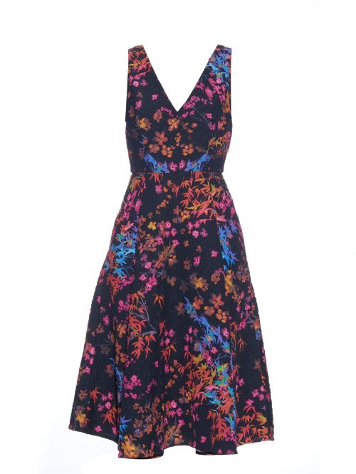 Jess Floral Print Textured Crepe Dress - neckline: v-neck; sleeve style: sleeveless; predominant colour: navy; secondary colour: bright orange; occasions: evening; length: on the knee; fit: fitted at waist & bust; style: fit & flare; fibres: polyester/polyamide - mix; sleeve length: sleeveless; texture group: crepes; pattern type: fabric; pattern: florals; multicoloured: multicoloured; season: s/s 2016; wardrobe: event