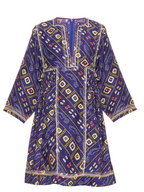 Thurman Printed Silk Dress - style: shift; length: mid thigh; neckline: v-neck; predominant colour: navy; secondary colour: primrose yellow; occasions: evening; fit: body skimming; fibres: silk - 100%; sleeve length: 3/4 length; sleeve style: standard; pattern type: fabric; pattern: patterned/print; texture group: other - light to midweight; multicoloured: multicoloured; season: s/s 2016; wardrobe: event
