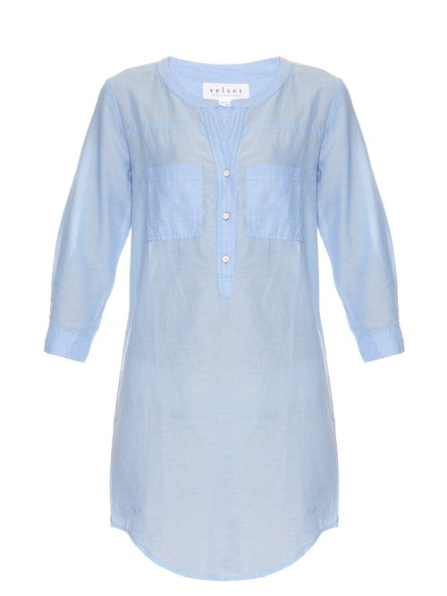 Doma Cotton Dress - style: tunic; length: mid thigh; pattern: plain; bust detail: pocket detail at bust; predominant colour: pale blue; occasions: casual; fit: straight cut; neckline: collarstand & mandarin with v-neck; fibres: cotton - 100%; sleeve length: 3/4 length; sleeve style: standard; texture group: cotton feel fabrics; pattern type: fabric; season: s/s 2016