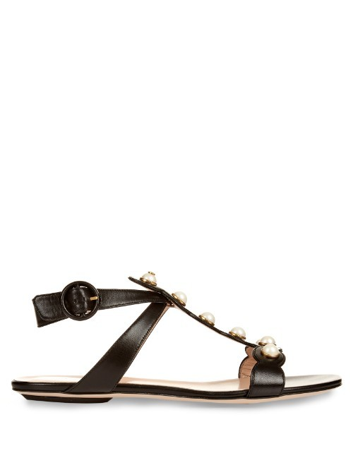 Willow Leather Sandals - predominant colour: black; occasions: casual, holiday; material: leather; heel height: flat; embellishment: studs; ankle detail: ankle strap; heel: block; toe: open toe/peeptoe; style: gladiators; finish: plain; pattern: plain; season: s/s 2016; wardrobe: highlight