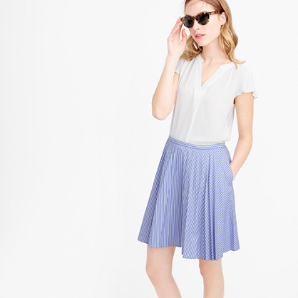 Flouncy Striped Skirt - length: mid thigh; pattern: striped; fit: body skimming; style: pleated; waist: mid/regular rise; predominant colour: pale blue; occasions: casual; fibres: cotton - 100%; pattern type: fabric; texture group: other - light to midweight; season: s/s 2016