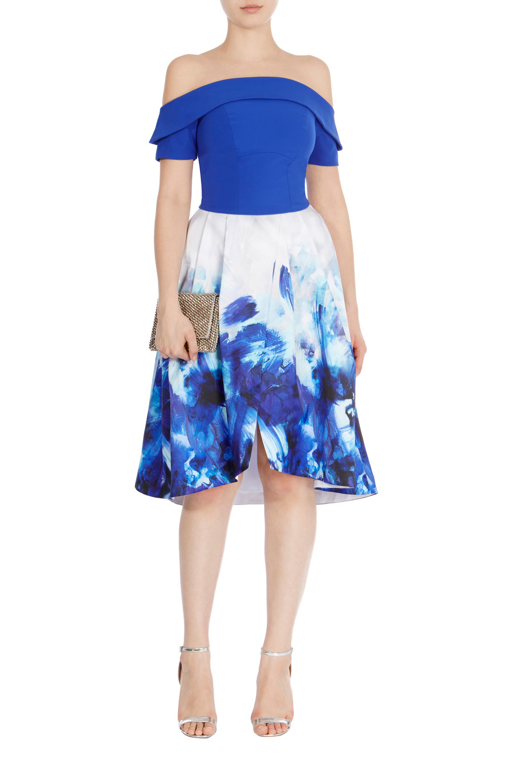 Padua Print Wrap Skirt - length: below the knee; style: wrap/faux wrap; fit: loose/voluminous; waist: mid/regular rise; predominant colour: ivory/cream; secondary colour: royal blue; occasions: evening; fibres: polyester/polyamide - 100%; pattern type: fabric; pattern: florals; texture group: other - light to midweight; multicoloured: multicoloured; season: s/s 2016; wardrobe: event