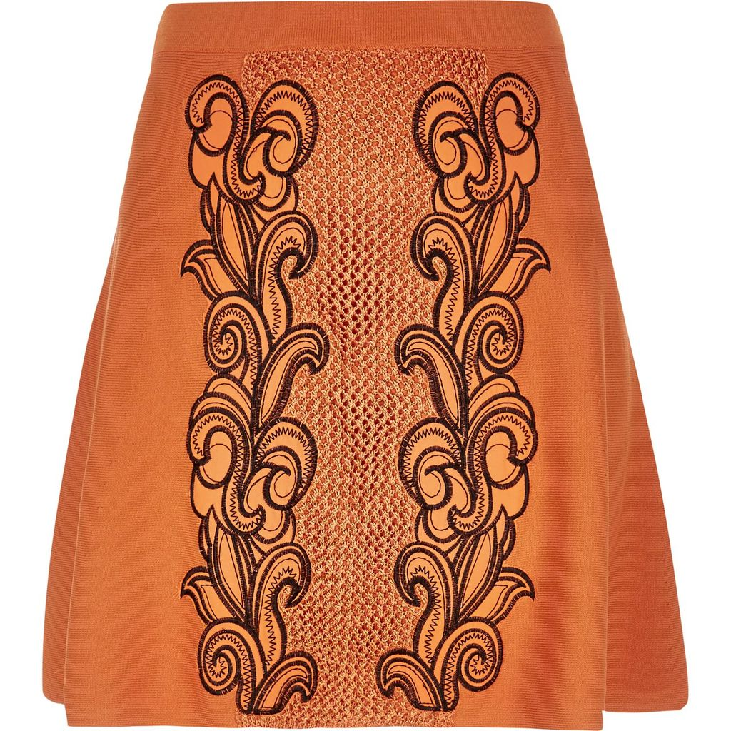 Womens Orange Knit Embroidered Skirt - fit: loose/voluminous; waist: high rise; predominant colour: bright orange; secondary colour: chocolate brown; occasions: casual; length: just above the knee; style: a-line; fibres: nylon - mix; texture group: knits/crochet; pattern type: knitted - fine stitch; pattern: patterned/print; embellishment: embroidered; pattern size: standard (bottom); season: s/s 2016