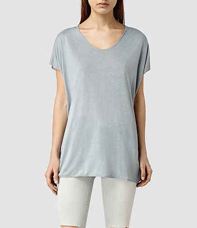 Ole Tee - neckline: v-neck; pattern: plain; length: below the bottom; style: t-shirt; predominant colour: light grey; occasions: casual; fibres: viscose/rayon - 100%; fit: loose; sleeve length: short sleeve; sleeve style: standard; pattern type: fabric; texture group: jersey - stretchy/drapey; season: s/s 2016; wardrobe: basic