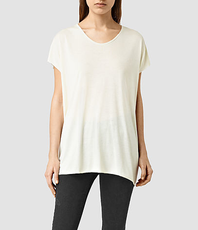 Ole Tee - neckline: round neck; pattern: plain; length: below the bottom; style: t-shirt; predominant colour: ivory/cream; occasions: casual; fibres: viscose/rayon - 100%; fit: loose; sleeve length: short sleeve; sleeve style: standard; pattern type: fabric; texture group: jersey - stretchy/drapey; season: s/s 2016