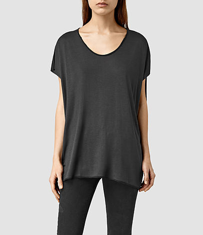 Ole Tee - neckline: round neck; pattern: plain; length: below the bottom; style: t-shirt; predominant colour: black; occasions: casual; fibres: viscose/rayon - 100%; fit: body skimming; sleeve length: short sleeve; sleeve style: standard; pattern type: fabric; texture group: jersey - stretchy/drapey; season: s/s 2016; wardrobe: basic