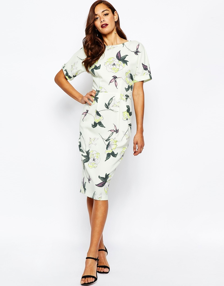 Wiggle Dress In Bird And Floral Print Print - style: shift; fit: tailored/fitted; predominant colour: ivory/cream; secondary colour: emerald green; length: floor length; fibres: polyester/polyamide - stretch; occasions: occasion; neckline: crew; sleeve length: short sleeve; sleeve style: standard; texture group: crepes; pattern type: fabric; pattern size: standard; pattern: florals; season: s/s 2016