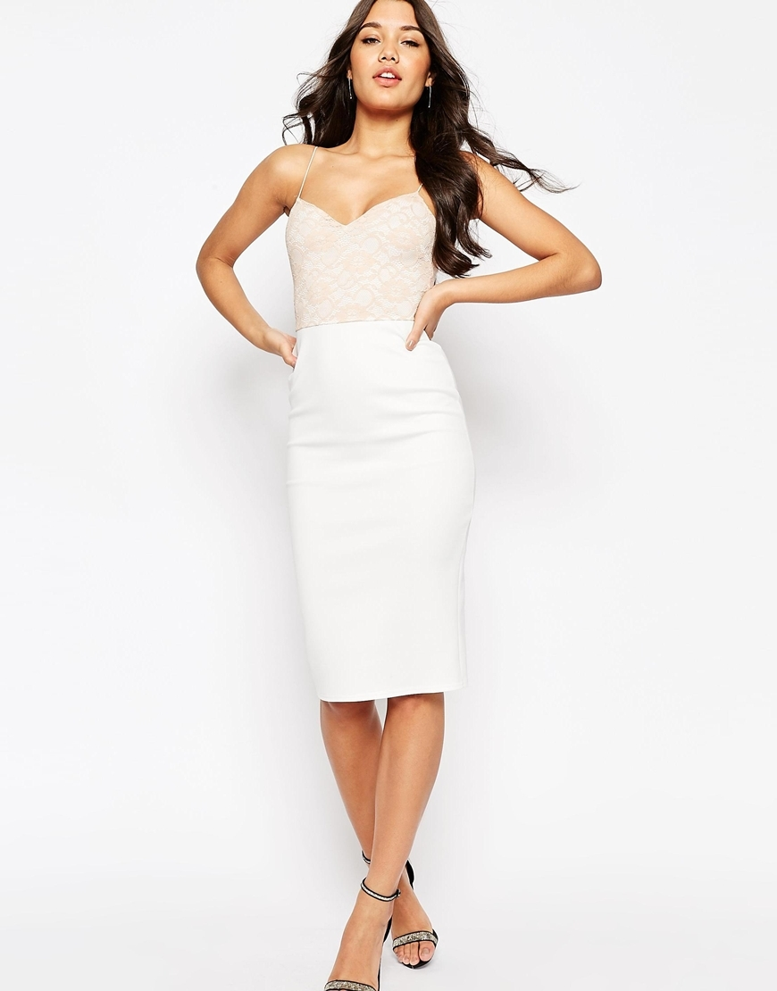 Lace Top Scuba Pencil Midi Dress Ivory/Nude - style: shift; neckline: strapless (straight/sweetheart); fit: tailored/fitted; pattern: plain; sleeve style: sleeveless; predominant colour: ivory/cream; secondary colour: nude; length: on the knee; fibres: polyester/polyamide - stretch; occasions: occasion; sleeve length: sleeveless; pattern type: fabric; texture group: other - light to midweight; embellishment: lace; season: s/s 2016; wardrobe: event