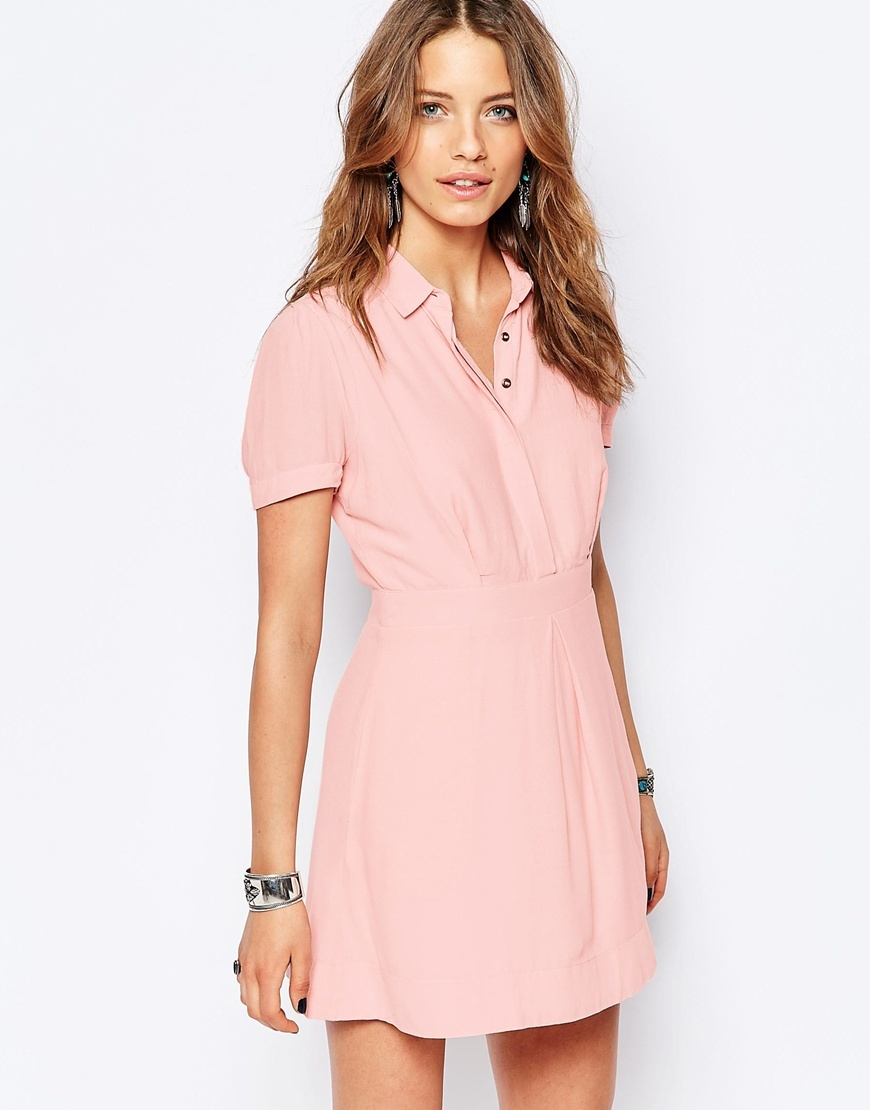 Dream Chaser Button Front Dress In Peach Light Peach - style: shirt; length: mini; neckline: shirt collar/peter pan/zip with opening; pattern: plain; predominant colour: pink; occasions: casual; fit: body skimming; fibres: viscose/rayon - 100%; sleeve length: short sleeve; sleeve style: standard; pattern type: fabric; texture group: woven light midweight; season: s/s 2016; wardrobe: highlight