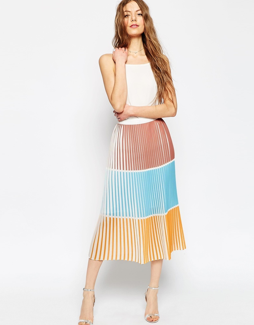 Pleated Column Skirt In Colourblock Multi - length: below the knee; fit: loose/voluminous; style: pleated; waist: high rise; secondary colour: turquoise; fibres: polyester/polyamide - 100%; occasions: occasion; pattern type: fabric; pattern: colourblock; texture group: other - light to midweight; predominant colour: dusky pink; multicoloured: multicoloured; season: s/s 2016; wardrobe: event