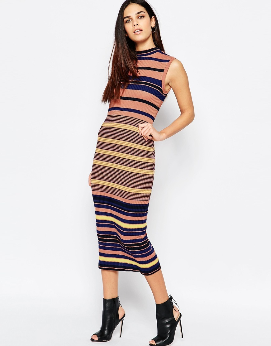 Multi Striped Column Midi Dress Multi - length: calf length; fit: tight; pattern: horizontal stripes; sleeve style: sleeveless; style: bodycon; predominant colour: pink; secondary colour: navy; occasions: casual; neckline: crew; sleeve length: sleeveless; texture group: jersey - clingy; pattern type: fabric; fibres: viscose/rayon - mix; multicoloured: multicoloured; season: s/s 2016; wardrobe: highlight