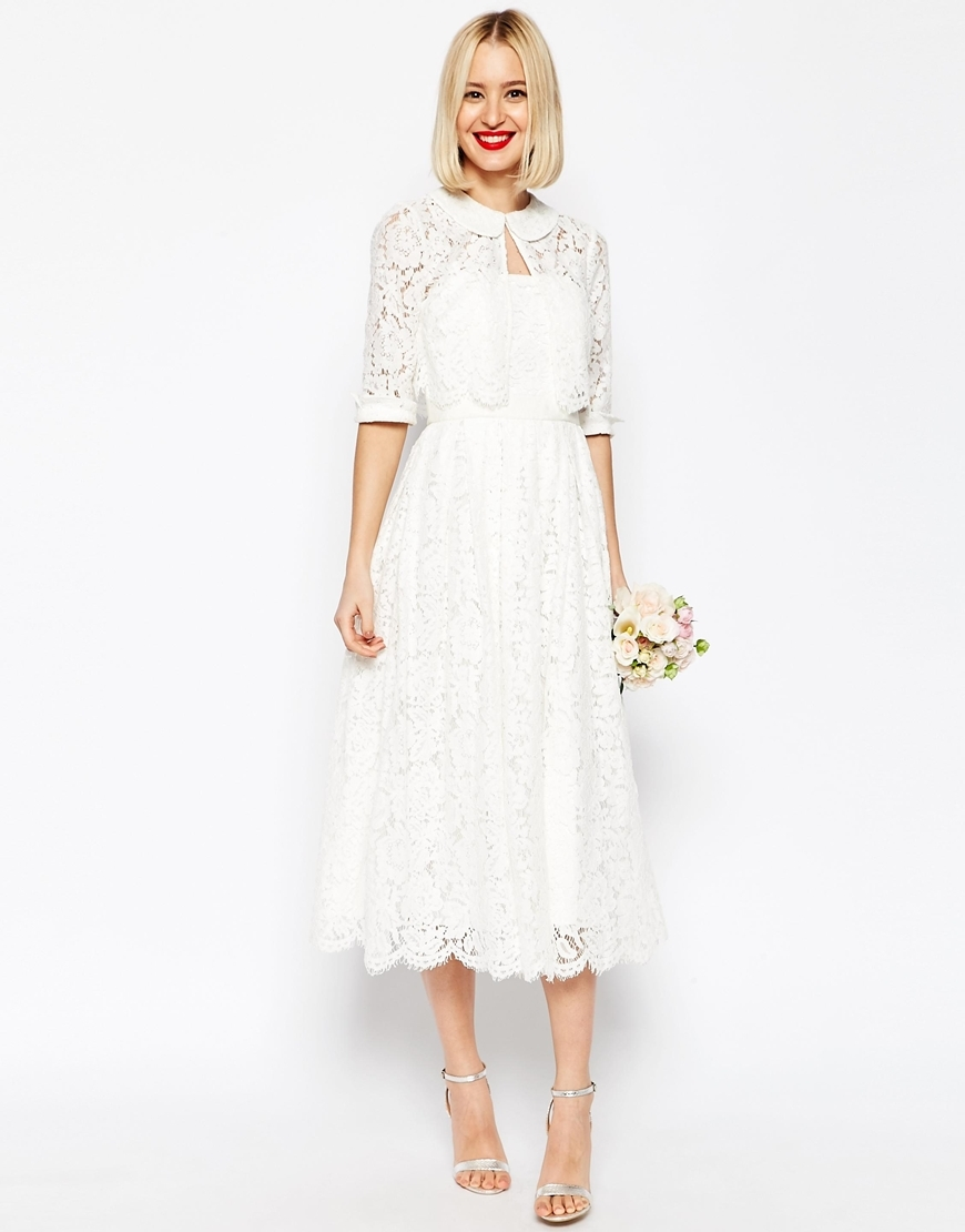 Bridal Lace Bandeau Midi Prom Dress With Crop Jacket White - length: calf length; neckline: strapless (straight/sweetheart); sleeve style: strapless; predominant colour: white; fit: fitted at waist & bust; style: fit & flare; fibres: nylon - mix; occasions: occasion, bridalwear; sleeve length: sleeveless; texture group: lace; pattern type: fabric; pattern: patterned/print; season: s/s 2016