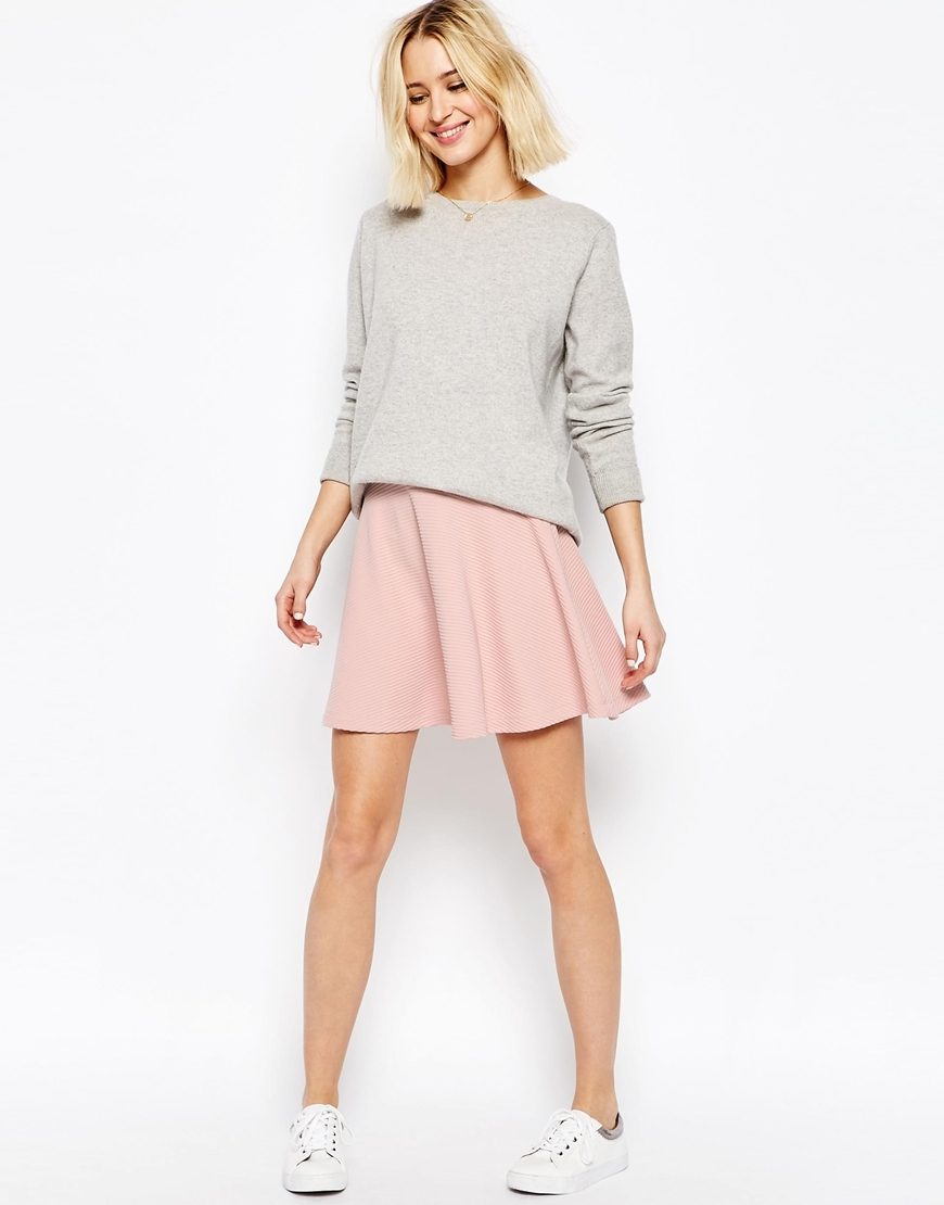 Skater Skirt In Texture Blush - length: mini; pattern: plain; fit: loose/voluminous; style: pleated; waist: high rise; predominant colour: pink; occasions: casual; fibres: polyester/polyamide - stretch; hip detail: subtle/flattering hip detail; pattern type: fabric; texture group: jersey - stretchy/drapey; season: s/s 2016; wardrobe: highlight