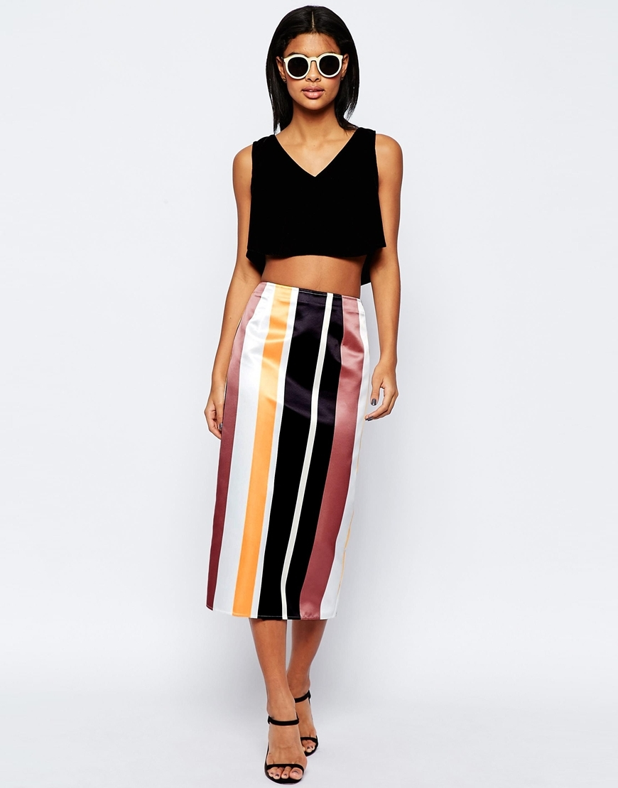 Stripe Pencil Skirt In Structured Satin Co Ord Multi - length: calf length; pattern: vertical stripes; style: pencil; waist: high rise; secondary colour: yellow; predominant colour: black; fibres: polyester/polyamide - 100%; texture group: structured shiny - satin/tafetta/silk etc.; fit: straight cut; pattern type: fabric; occasions: creative work; multicoloured: multicoloured; season: s/s 2016; wardrobe: highlight