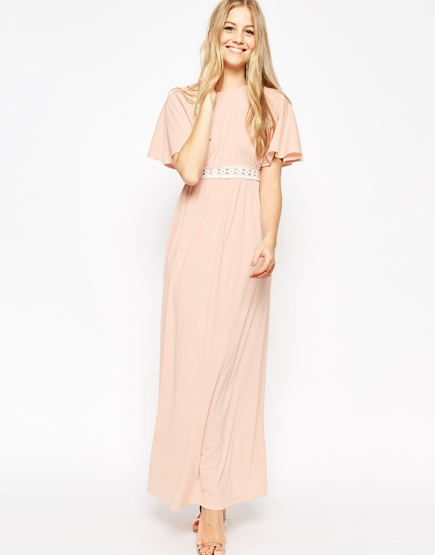 Angel Sleeve Maxi Dress Blush - neckline: round neck; sleeve style: angel/waterfall; fit: fitted at waist; pattern: plain; style: maxi dress; length: ankle length; secondary colour: ivory/cream; predominant colour: nude; fibres: polyester/polyamide - 100%; occasions: occasion; sleeve length: half sleeve; texture group: sheer fabrics/chiffon/organza etc.; pattern type: fabric; embellishment: lace; season: s/s 2016