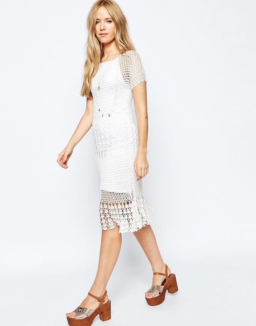Revive Crochet Dress Cream - style: shift; length: below the knee; neckline: round neck; pattern: plain; predominant colour: ivory/cream; fit: body skimming; fibres: viscose/rayon - 100%; occasions: occasion; sleeve length: short sleeve; sleeve style: standard; pattern type: fabric; texture group: woven light midweight; season: s/s 2016