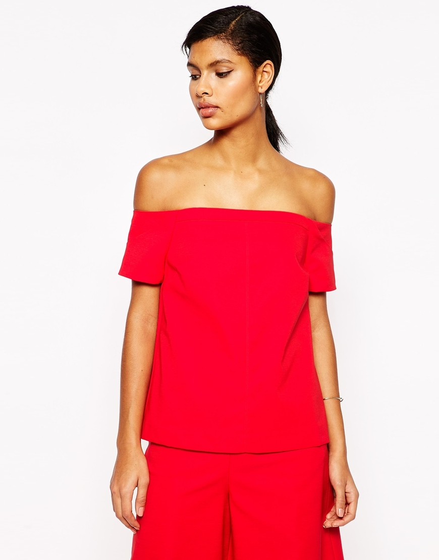 Minimal Off The Shoulder Wrap Back Top Co Ord Red - neckline: off the shoulder; pattern: plain; predominant colour: true red; occasions: casual, evening; length: standard; style: top; fibres: polyester/polyamide - 100%; fit: straight cut; sleeve length: short sleeve; sleeve style: standard; texture group: crepes; pattern type: fabric; season: s/s 2016; wardrobe: highlight