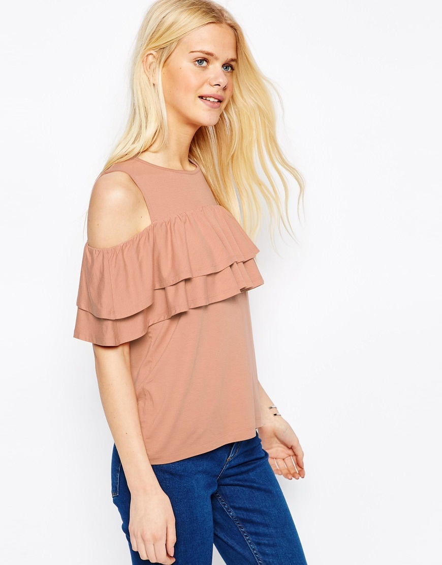 Ruffle Top With Cold Shoulder Nude - neckline: round neck; pattern: plain; predominant colour: nude; occasions: evening, creative work; length: standard; style: top; fibres: viscose/rayon - stretch; fit: body skimming; shoulder detail: cut out shoulder; sleeve length: short sleeve; sleeve style: standard; texture group: sheer fabrics/chiffon/organza etc.; bust detail: bulky details at bust; pattern type: fabric; season: s/s 2016; wardrobe: highlight