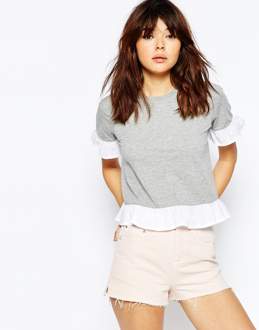 T Shirt With Woven Ruffle Light Grey - secondary colour: white; predominant colour: light grey; occasions: casual, creative work; length: standard; style: top; fibres: polyester/polyamide - mix; fit: straight cut; neckline: crew; sleeve length: short sleeve; sleeve style: standard; pattern type: fabric; pattern size: standard; pattern: colourblock; texture group: jersey - stretchy/drapey; season: s/s 2016; wardrobe: highlight