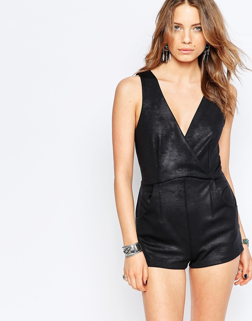 Black Moonlight Faux Leather Playsuit Black - neckline: low v-neck; pattern: plain; sleeve style: sleeveless; length: short shorts; predominant colour: black; occasions: evening; fit: body skimming; fibres: polyester/polyamide - stretch; sleeve length: sleeveless; texture group: leather; style: playsuit; pattern type: fabric; season: s/s 2016