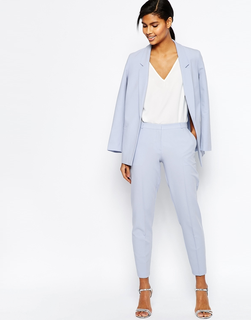 Ankle Grazer Cigarette Trousers In Crepe Cornflower Blue - pattern: plain; style: peg leg; waist: high rise; predominant colour: pale blue; length: ankle length; occasions: occasion, creative work; texture group: crepes; fit: tapered; pattern type: fabric; fibres: viscose/rayon - mix; season: s/s 2016; wardrobe: highlight