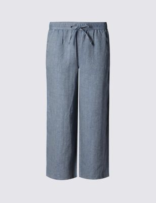 Linen Blend Cropped Trousers - length: standard; pattern: plain; waist: mid/regular rise; predominant colour: denim; occasions: casual, holiday; fibres: linen - mix; texture group: linen; fit: straight leg; pattern type: fabric; style: standard; season: s/s 2016; wardrobe: highlight