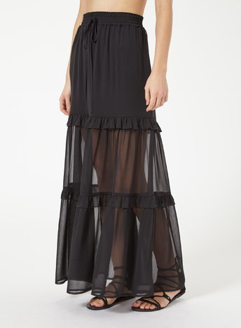 Womens Black Tier Maxi Skirt, Black - pattern: plain; length: ankle length; fit: loose/voluminous; waist: high rise; waist detail: belted waist/tie at waist/drawstring; predominant colour: black; style: maxi skirt; fibres: polyester/polyamide - 100%; hip detail: adds bulk at the hips; texture group: sheer fabrics/chiffon/organza etc.; occasions: holiday; pattern type: fabric; season: s/s 2016; wardrobe: holiday