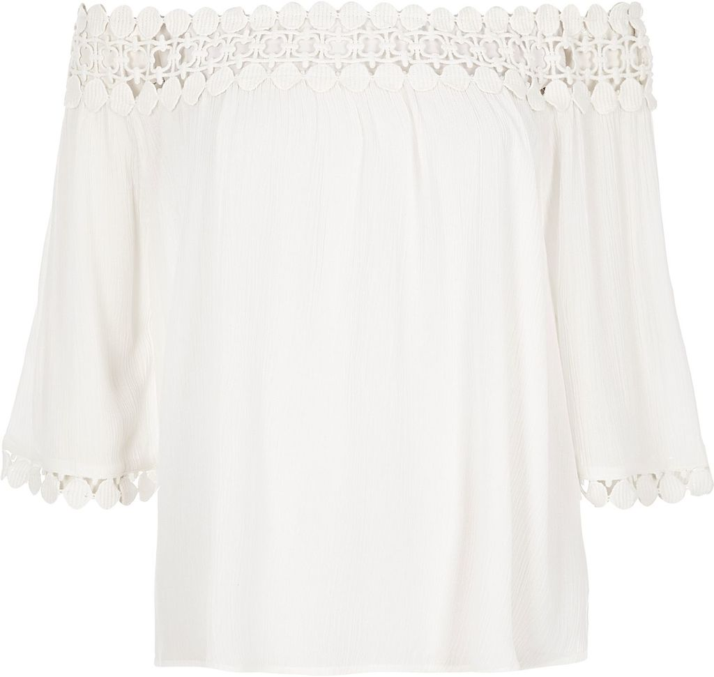 Womens Cream Lace Bardot Top - neckline: off the shoulder; pattern: plain; predominant colour: ivory/cream; occasions: casual; length: standard; style: top; fibres: viscose/rayon - 100%; fit: loose; sleeve length: 3/4 length; sleeve style: standard; pattern type: fabric; texture group: other - light to midweight; season: s/s 2016; wardrobe: highlight