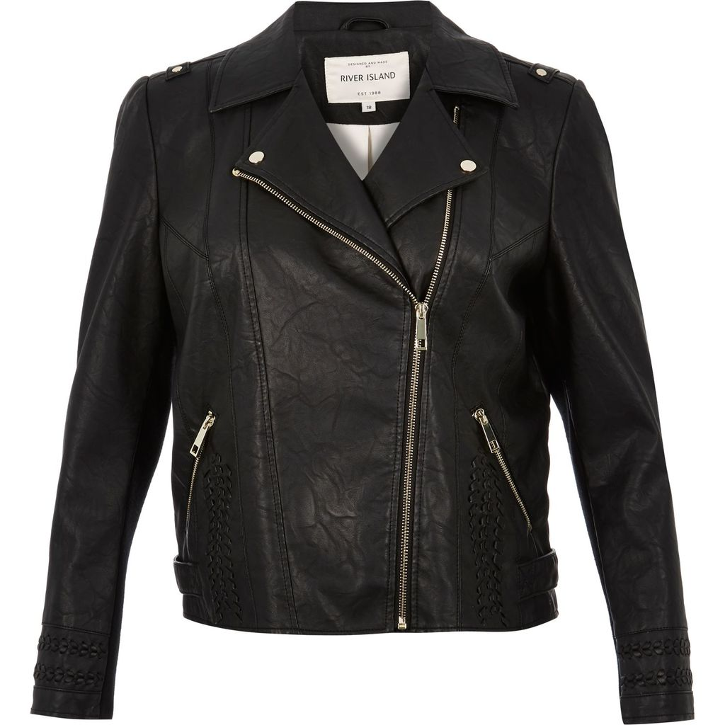 Womens Ri Plus Leather Look Biker Jacket - pattern: plain; style: biker; collar: asymmetric biker; fit: slim fit; predominant colour: black; occasions: casual; length: standard; fibres: polyester/polyamide - 100%; sleeve length: long sleeve; sleeve style: standard; texture group: leather; collar break: medium; pattern type: fabric; pattern size: standard; season: s/s 2016; wardrobe: basic