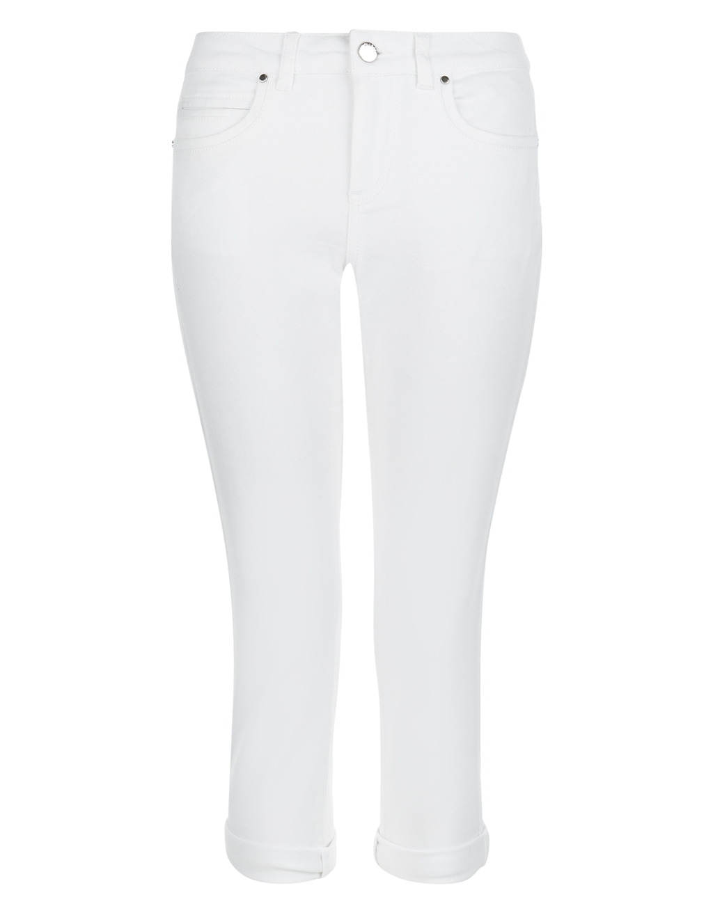 Isadora Capri Jean - style: skinny leg; pattern: plain; pocket detail: traditional 5 pocket; waist: mid/regular rise; predominant colour: white; occasions: casual; length: calf length; fibres: cotton - stretch; texture group: denim; pattern type: fabric; season: s/s 2016