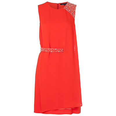 Cecil Drape Dress - style: shift; length: mid thigh; fit: tailored/fitted; pattern: plain; sleeve style: sleeveless; waist detail: embellishment at waist/feature waistband; predominant colour: coral; occasions: evening, occasion; fibres: viscose/rayon - 100%; neckline: crew; sleeve length: sleeveless; texture group: crepes; pattern type: fabric; embellishment: crystals/glass; season: s/s 2016