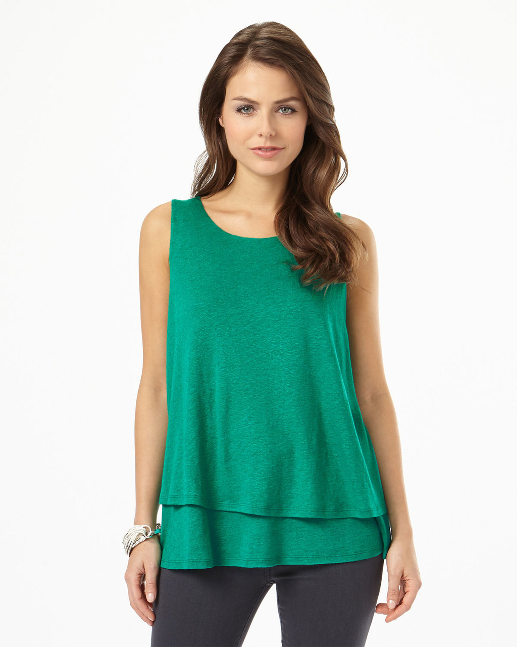 Billi Double Layer Top - pattern: plain; sleeve style: sleeveless; predominant colour: emerald green; occasions: casual; length: standard; style: top; fit: body skimming; neckline: crew; sleeve length: sleeveless; pattern type: fabric; texture group: other - light to midweight; fibres: viscose/rayon - mix; season: s/s 2016; wardrobe: highlight