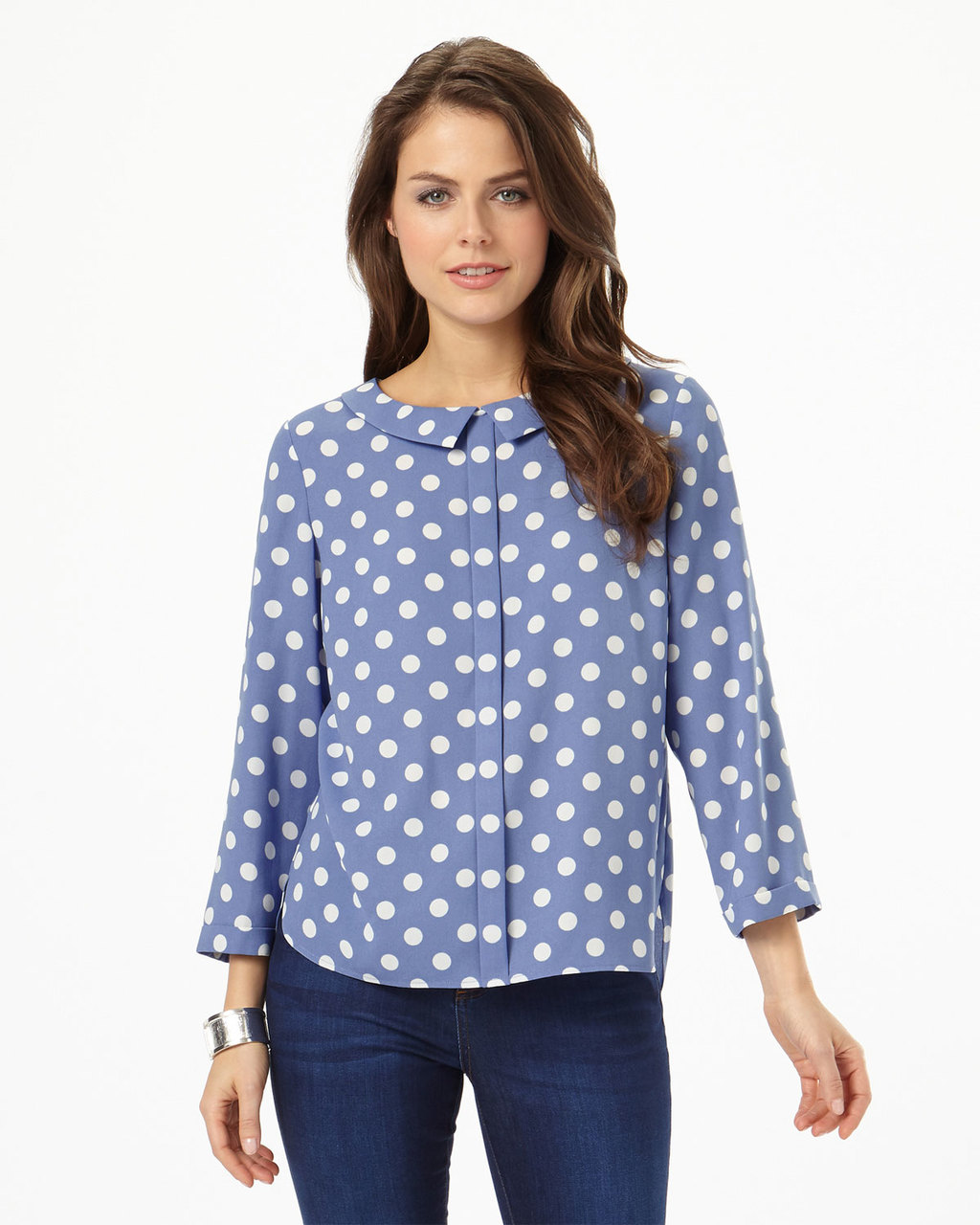Marilyn Spot Blouse - neckline: shirt collar/peter pan/zip with opening; style: blouse; pattern: polka dot; secondary colour: white; predominant colour: pale blue; occasions: casual, creative work; length: standard; fibres: polyester/polyamide - 100%; fit: straight cut; sleeve length: 3/4 length; sleeve style: standard; pattern type: fabric; pattern size: standard; texture group: other - light to midweight; season: s/s 2016; wardrobe: highlight