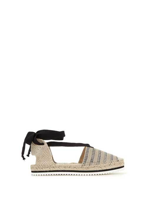 Striped Brooklyn Canvas Tie Espadrille - predominant colour: nude; secondary colour: black; occasions: casual, holiday; material: fabric; heel height: flat; ankle detail: ankle tie; toe: round toe; finish: plain; pattern: horizontal stripes; style: espadrilles; multicoloured: multicoloured; season: s/s 2016; wardrobe: highlight