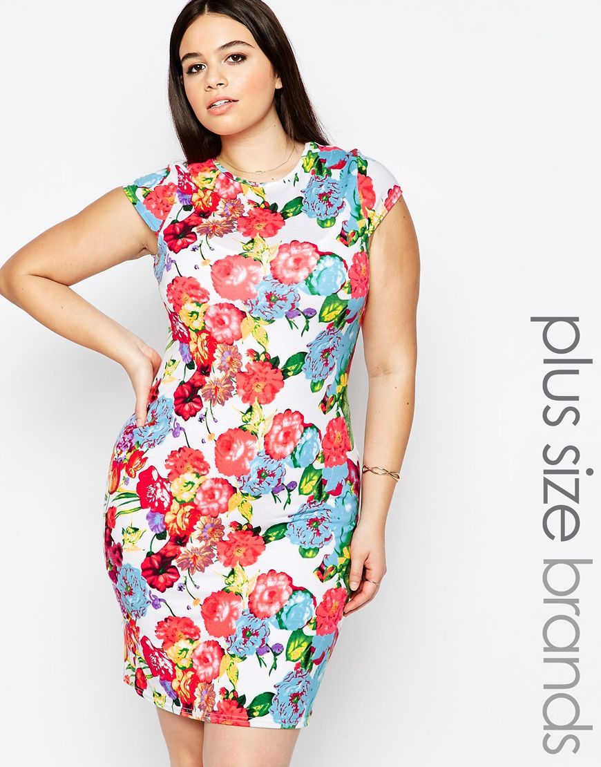 Plus Midi Dress With Cap Sleeves In Floral Print Black Floral - style: shift; length: mid thigh; sleeve style: capped; fit: tailored/fitted; predominant colour: true red; secondary colour: pale blue; fibres: viscose/rayon - stretch; occasions: occasion; neckline: crew; sleeve length: short sleeve; texture group: jersey - clingy; pattern type: fabric; pattern size: standard; pattern: florals; multicoloured: multicoloured; season: s/s 2016