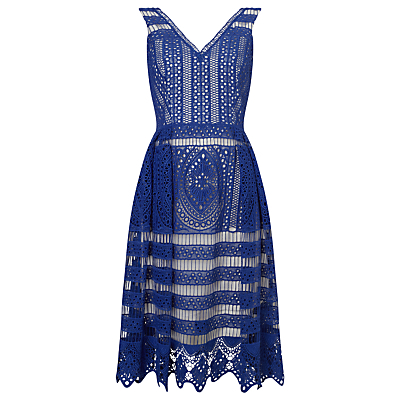 Camille Lace Dress, Bondi Blue - length: below the knee; neckline: v-neck; sleeve style: sleeveless; secondary colour: ivory/cream; predominant colour: navy; occasions: evening, occasion; fit: fitted at waist & bust; style: fit & flare; fibres: polyester/polyamide - 100%; sleeve length: sleeveless; texture group: lace; pattern type: fabric; pattern size: standard; pattern: patterned/print; season: s/s 2016