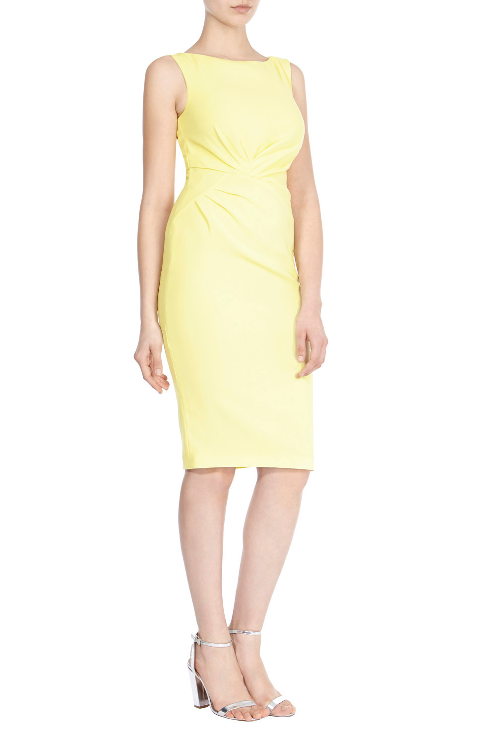 Jamillia Crepe Dress - style: shift; fit: tailored/fitted; pattern: plain; sleeve style: sleeveless; predominant colour: primrose yellow; occasions: evening; length: on the knee; neckline: crew; sleeve length: sleeveless; texture group: crepes; pattern type: fabric; fibres: viscose/rayon - mix; season: s/s 2016; wardrobe: event