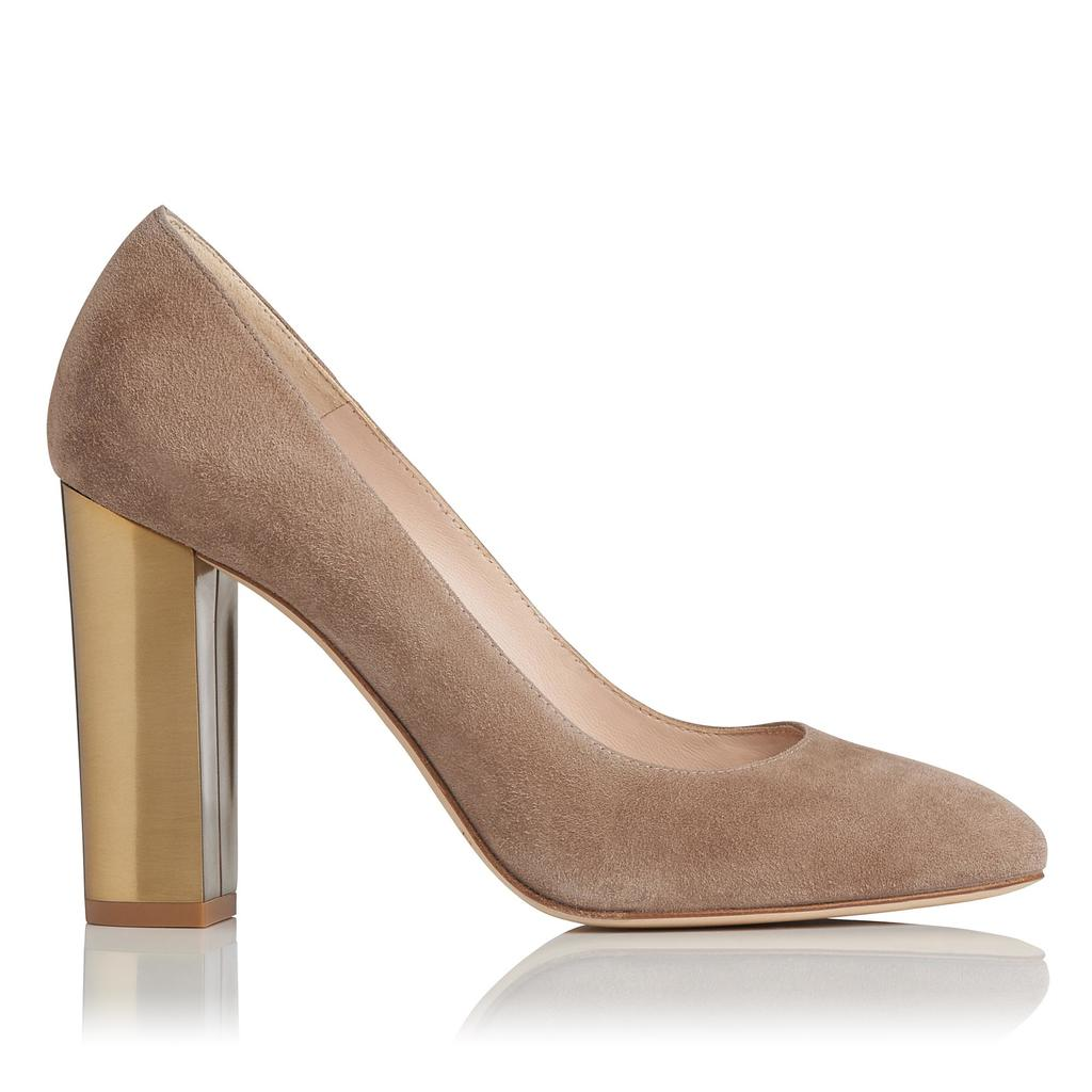 Manila Latte Suede Block Heel Brown Latte - predominant colour: stone; occasions: evening, creative work; material: suede; heel height: high; heel: block; toe: round toe; style: courts; finish: plain; pattern: plain; season: s/s 2016