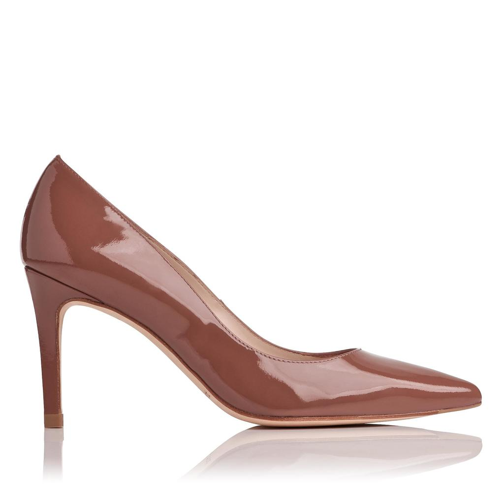Floret Winter Rose Patent Courts Neutral Winter Rose - predominant colour: taupe; occasions: evening, occasion; material: leather; heel height: high; heel: stiletto; toe: pointed toe; style: courts; finish: patent; pattern: plain; season: s/s 2016; wardrobe: event