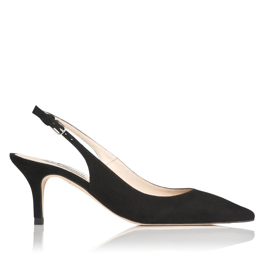 Mira Black Kitten Heel Sling Backs Black - predominant colour: black; occasions: evening, work, occasion; material: suede; heel height: mid; heel: kitten; toe: pointed toe; style: slingbacks; finish: plain; pattern: plain; season: s/s 2016; wardrobe: investment