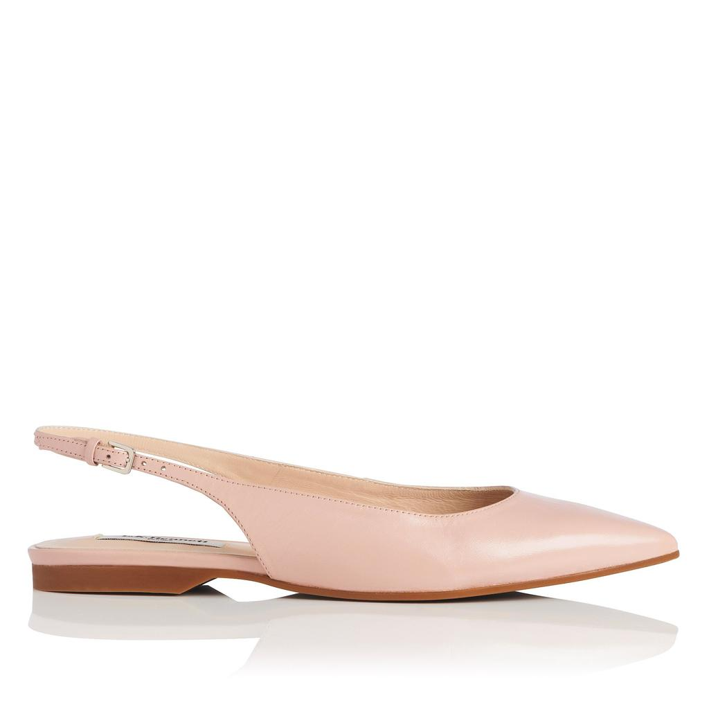 Florena Pink Slingback Flats - predominant colour: blush; occasions: casual, creative work; material: leather; heel height: flat; toe: pointed toe; style: ballerinas / pumps; finish: plain; pattern: plain; season: s/s 2016; wardrobe: basic