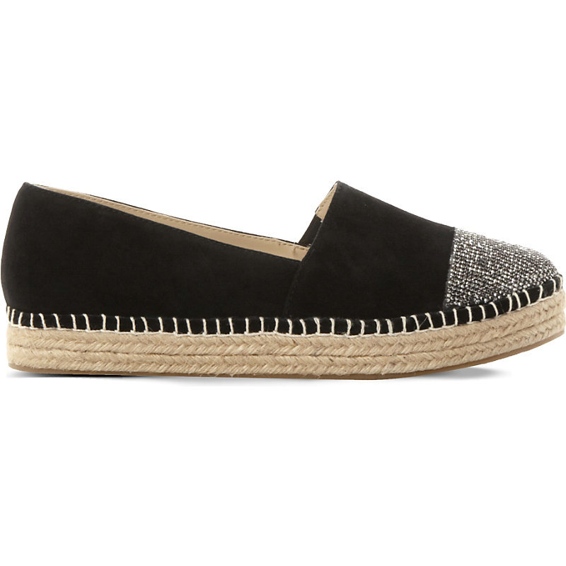 Pulsee Suede Rhinestone Embellished Espadrilles, Women's, Eur 41 / 8 Uk Women, Black Suede - secondary colour: silver; predominant colour: black; occasions: casual; material: suede; heel height: flat; toe: round toe; finish: plain; pattern: colourblock; embellishment: toe cap; style: espadrilles; shoe detail: moulded soul; season: s/s 2016