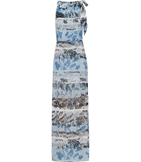 Ezra Printed Maxi Dress - sleeve style: sleeveless; style: maxi dress; neckline: pussy bow; predominant colour: pale blue; secondary colour: mid grey; occasions: evening, holiday; length: floor length; fit: body skimming; fibres: polyester/polyamide - 100%; sleeve length: sleeveless; pattern type: fabric; pattern: patterned/print; texture group: other - light to midweight; multicoloured: multicoloured; season: s/s 2016