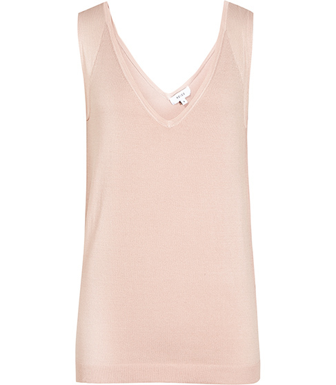 Rhea Knitted Tank Top - neckline: v-neck; pattern: plain; sleeve style: sleeveless; style: vest top; predominant colour: nude; occasions: casual; length: standard; fibres: viscose/rayon - 100%; fit: body skimming; sleeve length: sleeveless; texture group: knits/crochet; pattern type: fabric; season: s/s 2016