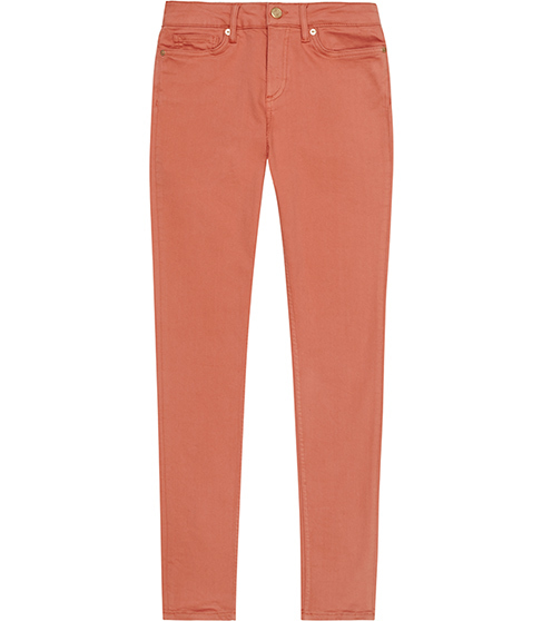 Stevie Low Rise Skinny Jeans - style: skinny leg; length: standard; pattern: plain; pocket detail: traditional 5 pocket; waist: mid/regular rise; predominant colour: coral; occasions: casual; fibres: cotton - stretch; texture group: denim; pattern type: fabric; season: s/s 2016; wardrobe: highlight