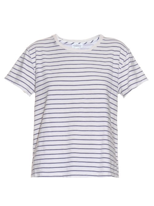 Henni Striped T Shirt - pattern: horizontal stripes; style: t-shirt; predominant colour: white; secondary colour: navy; occasions: casual; length: standard; fibres: cotton - stretch; fit: body skimming; neckline: crew; sleeve length: short sleeve; sleeve style: standard; pattern type: fabric; texture group: jersey - stretchy/drapey; season: s/s 2016; wardrobe: basic
