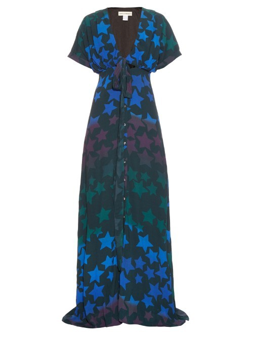Star Print Crepe Maxi Dress - neckline: low v-neck; style: maxi dress; secondary colour: royal blue; predominant colour: black; occasions: evening; length: floor length; fit: body skimming; fibres: viscose/rayon - 100%; sleeve length: short sleeve; sleeve style: standard; texture group: crepes; pattern type: fabric; pattern: patterned/print; multicoloured: multicoloured; season: s/s 2016